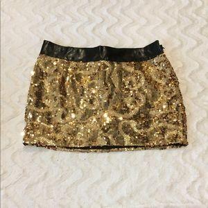 Bebe Gold Sequin Mini Skirt